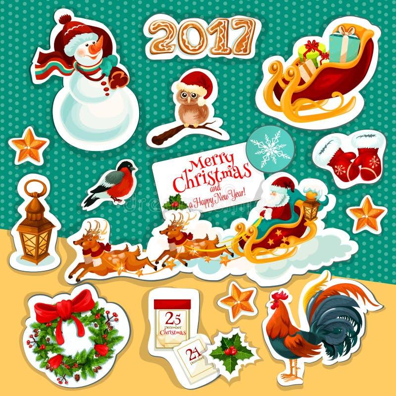 Insieme dell'autoadesivo di vacanze invernali del nuovo anno e di Natale royalty illustrazione gratis