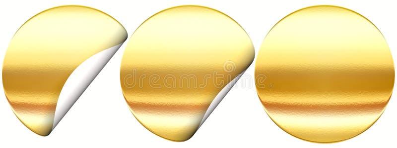 Insieme dell'autoadesivo dorato illustrazione di stock