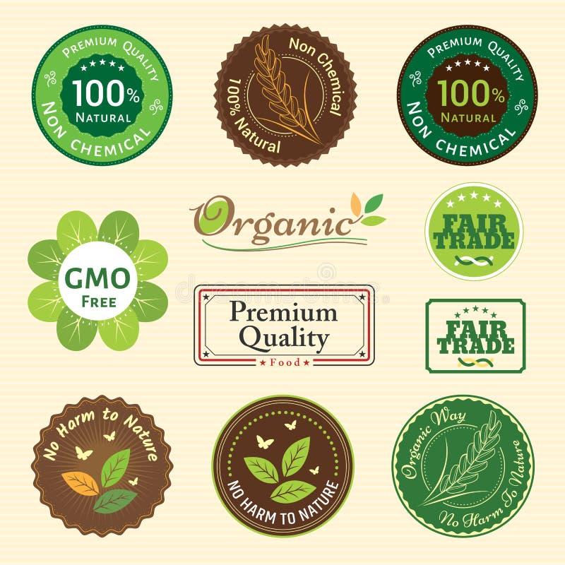 Insieme dell'autoadesivo organico e naturale dell'emblema dell'etichetta dell'etichetta del distintivo royalty illustrazione gratis