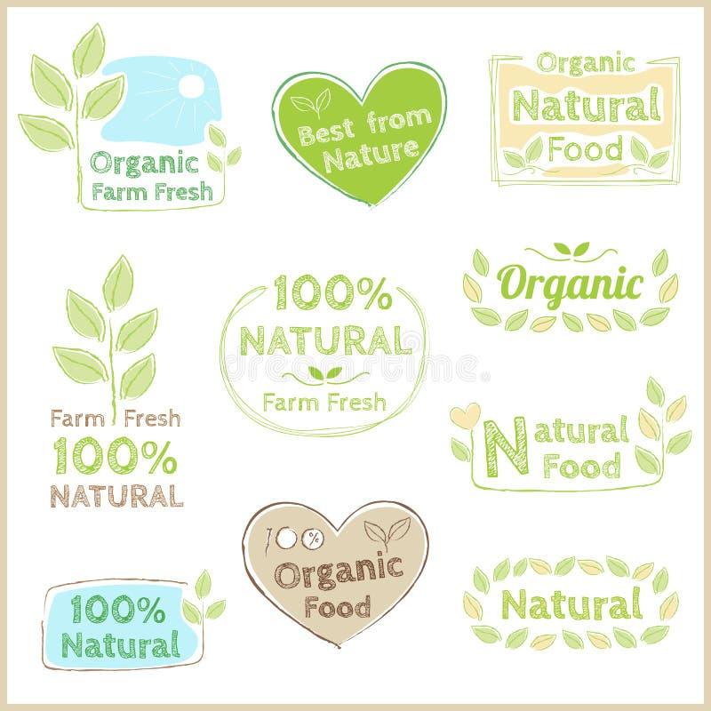 Insieme dell'autoadesivo organico e naturale dell'emblema dell'etichetta dell'etichetta del distintivo illustrazione vettoriale