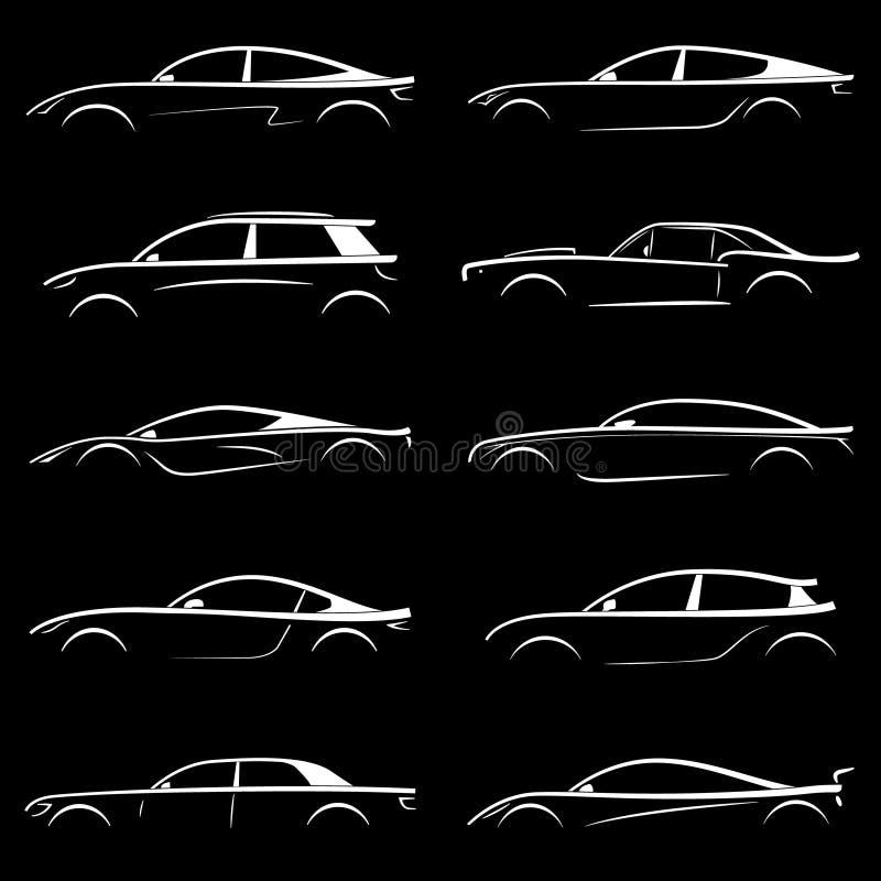 Insieme dell'automobile bianca della siluetta su fondo nero illustrazione vettoriale