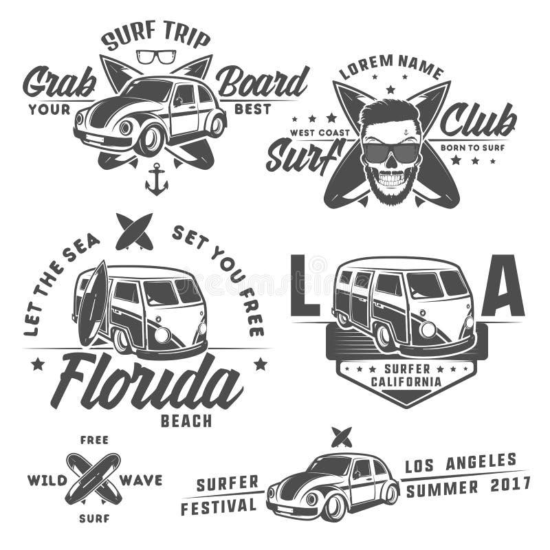 Insieme dell'automobile della spuma e del bus del surfista per gli emblemi, il logo e le stampe royalty illustrazione gratis