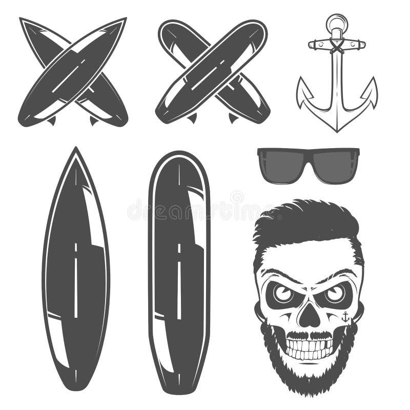 Insieme dell'automobile della spuma e del bus del surfista per gli emblemi, il logo e le stampe illustrazione vettoriale
