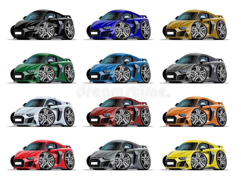 Insieme dell'automobile sportiva del fumetto isolato su bianco illustrazione vettoriale