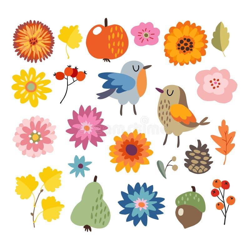 Insieme dell'autunno disegnato a mano sveglio, elementi di caduta Uccelli e varia raccolta dei fiori, della frutta e delle foglie illustrazione vettoriale