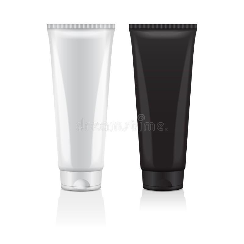 Insieme dell'insieme crema dell'icona del tubo Primo piano cosmetico del tubo del modello di progettazione Vector il modello per  royalty illustrazione gratis