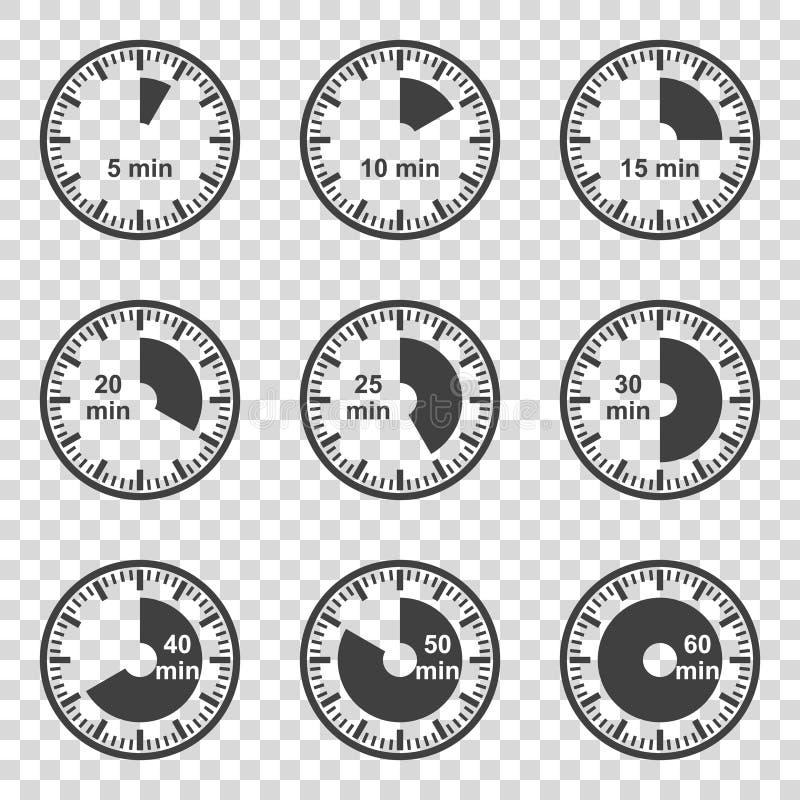 Insieme dell'insieme delle icone dei temporizzatori su un fondo trasparente Vettore illustrazione vettoriale