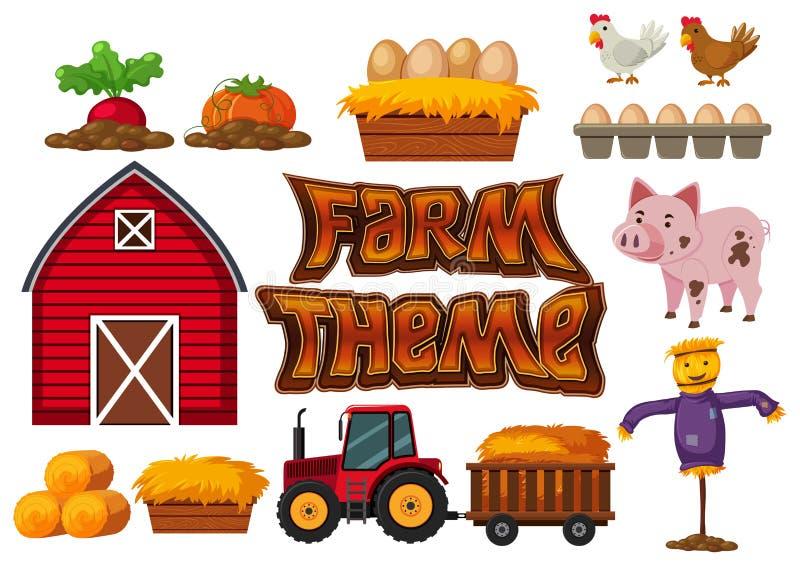 Insieme dell'elemento dell'azienda agricola royalty illustrazione gratis
