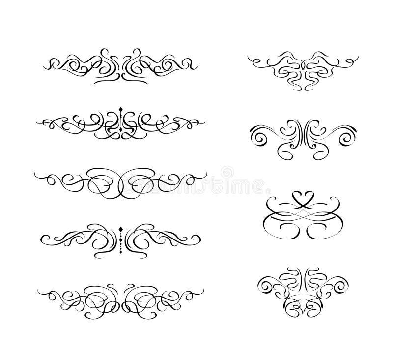 Insieme dell'elemento calligrafico di turbinio royalty illustrazione gratis