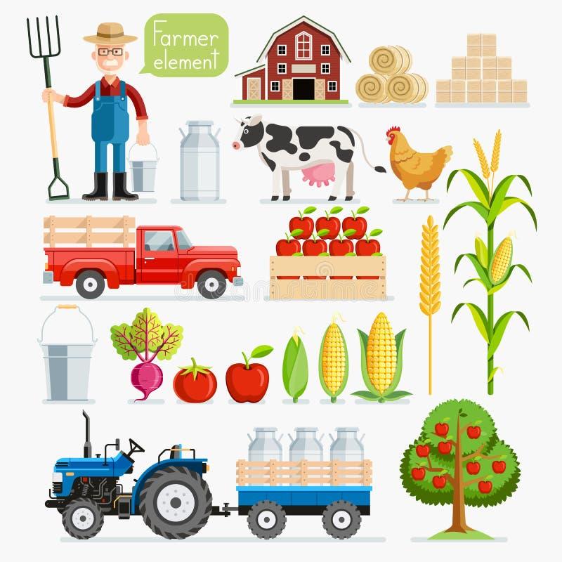 Insieme dell'elemento dell'agricoltore Agricoltore ed animali da allevamento illustrazione vettoriale