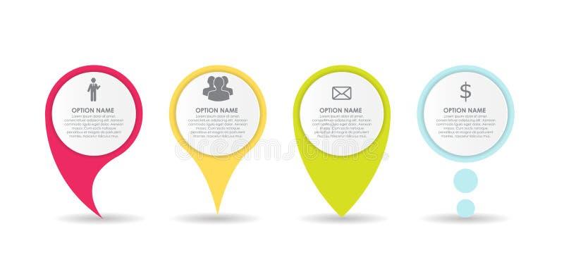 Insieme dell'elemento di affari di Infographic dei puntatori del cerchio Illustrazione di vettore illustrazione vettoriale