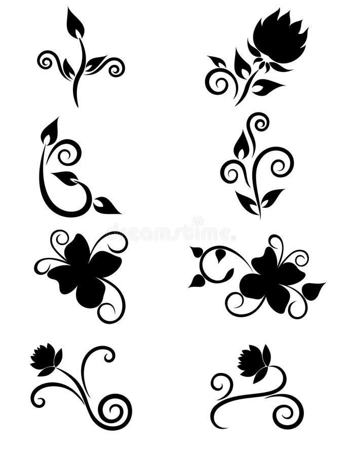 Insieme dell'elemento floreale per il disegno illustrazione di stock