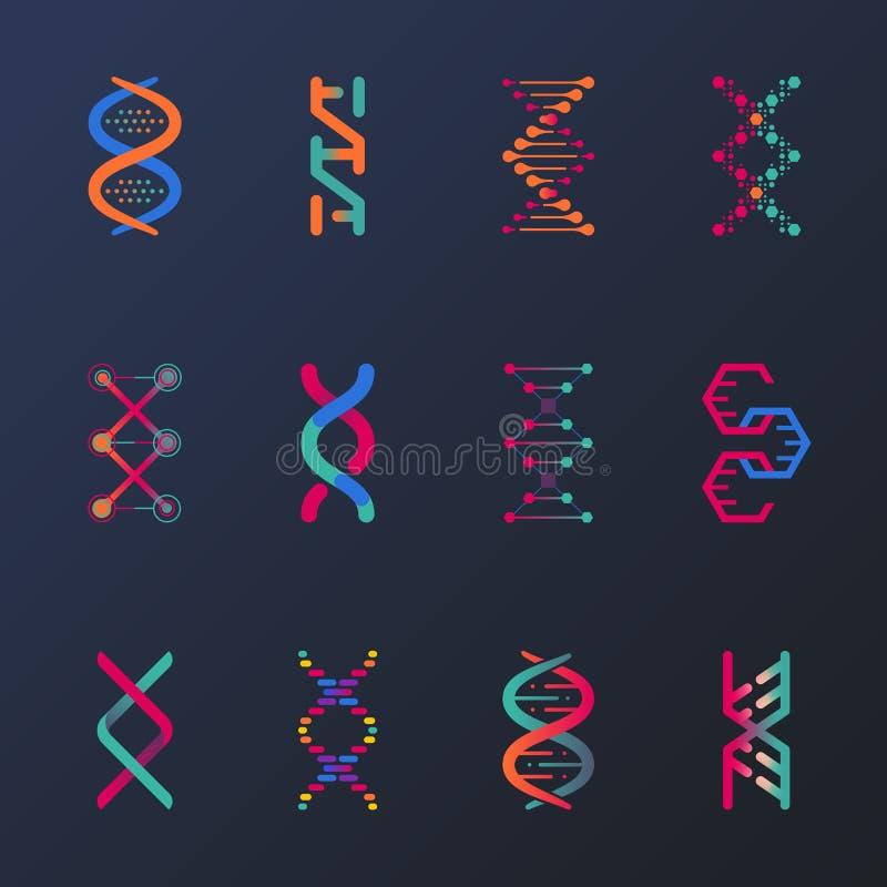Insieme dell'elica del DNA o delle spirali isolata, cellula royalty illustrazione gratis