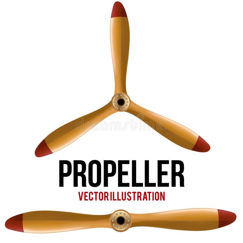 Insieme dell'elica di legno classica dell'aeroplano Vettore illustrazione vettoriale