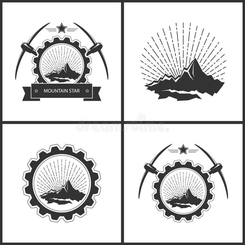 Insieme dell'emblema d'annata dell'industria estrattiva illustrazione vettoriale