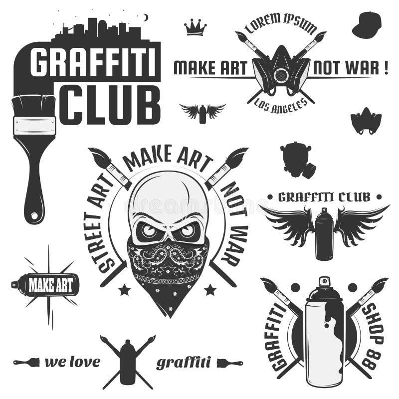 Insieme dell'emblema d'annata di arte della via e dei graffiti, delle etichette e degli elementi di progettazione Stile monocroma illustrazione vettoriale