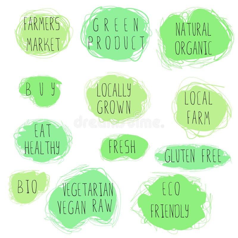 Insieme dell'emblema dell'alimento di Eco royalty illustrazione gratis