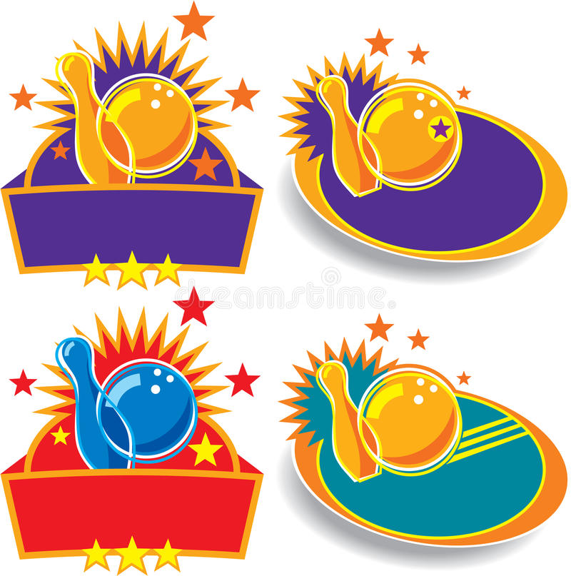 Insieme dell'emblema/segni di bowling illustrazione di stock