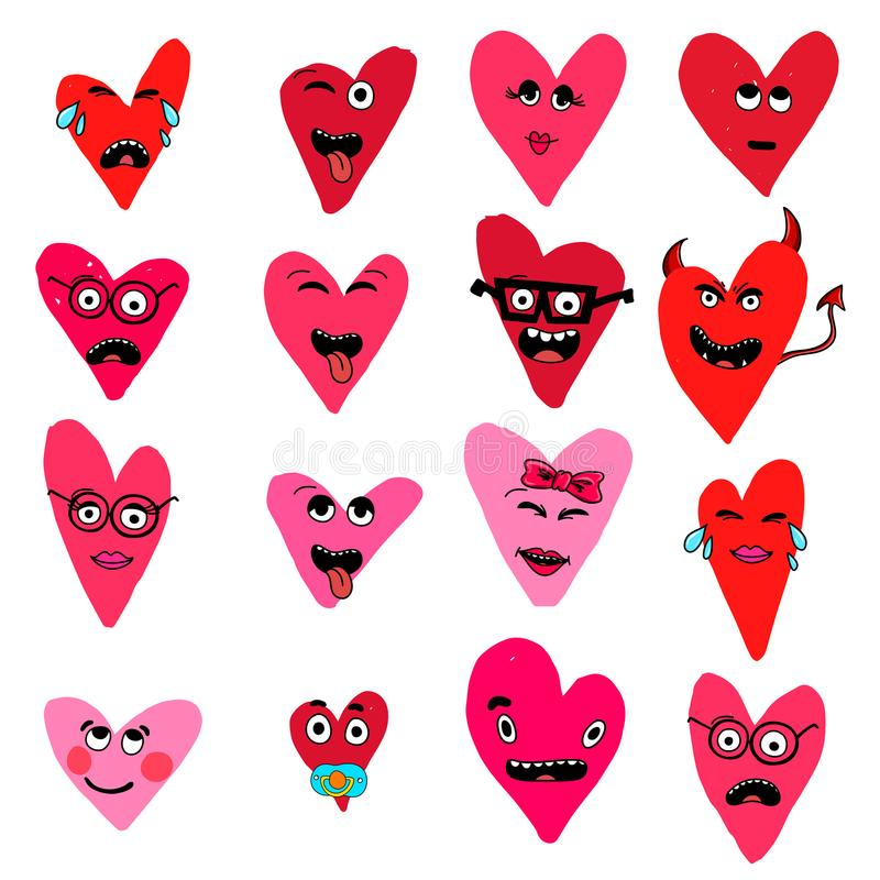 Insieme dell'emoticon con i cuori isolati su fondo bianco Vettore di Emoji Raccolta dell'icona di sorriso royalty illustrazione gratis