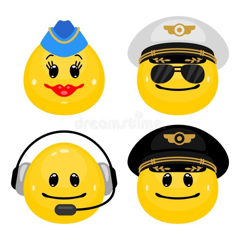 Insieme dell'emoticon di vettore dei piloti e dell'hostess illustrazione di stock