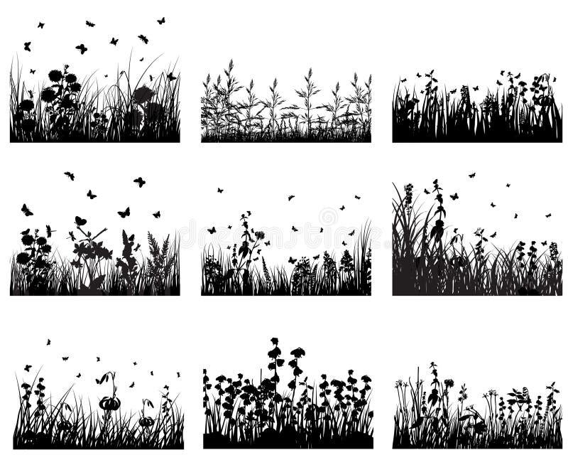 Insieme dell'erba illustrazione di stock