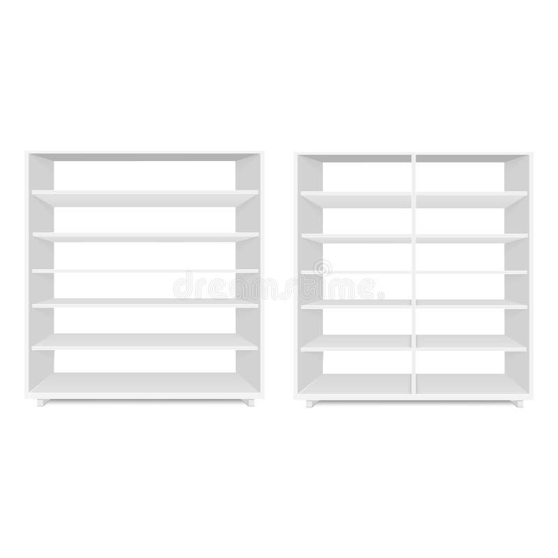 Insieme dell'esposizione vuota in bianco delle vetrine con gli scaffali al minuto Front View Derisione di vettore sul modello pro illustrazione vettoriale