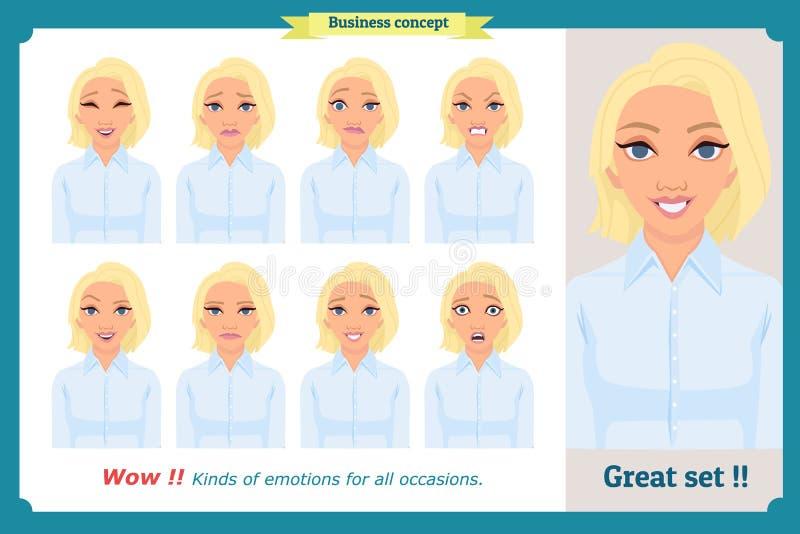 Insieme dell'espressione della donna isolato Testa emozionale sveglia della femmina Donna di affari illustrazione vettoriale