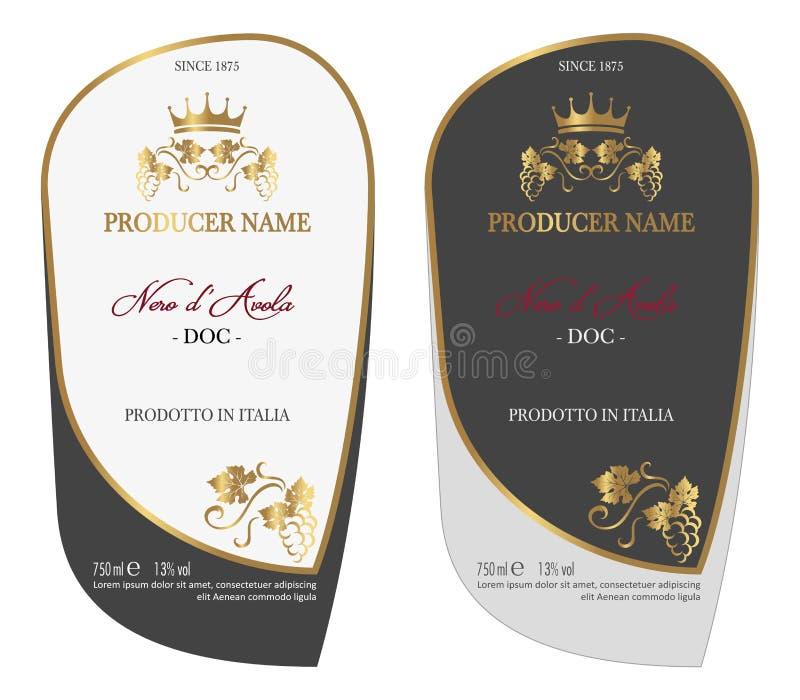 Insieme dell'etichetta colorata del vino royalty illustrazione gratis