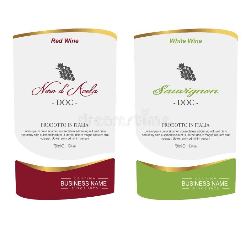 Insieme dell'etichetta del vino di vettore illustrazione vettoriale