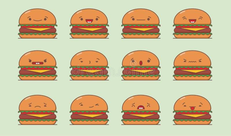 Insieme dell'hamburger di vettore illustrazione di stock