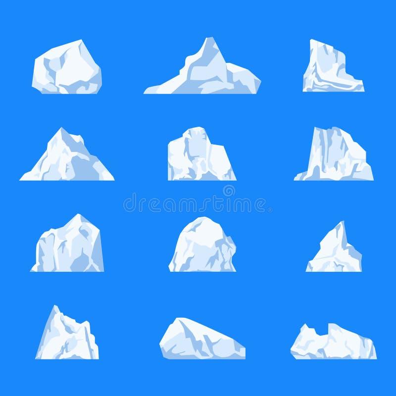 Insieme dell'iceberg o del ghiacciaio isolato, cristallo illustrazione di stock