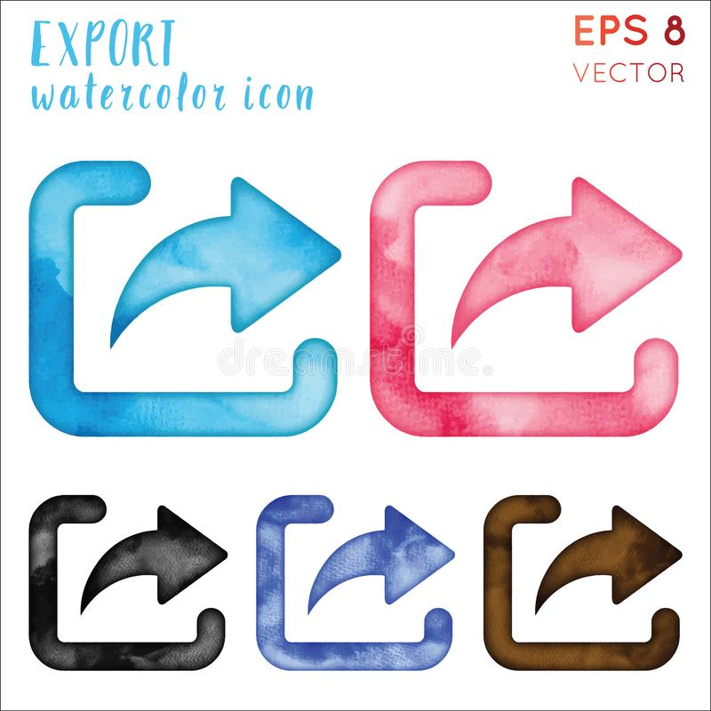 Insieme dell'icona dell'acquerello dell'esportazione illustrazione di stock