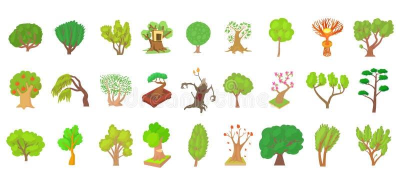 Insieme dell'icona dell'albero, stile del fumetto illustrazione vettoriale