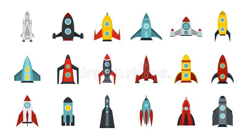 Insieme dell'icona dell'astronave, stile piano illustrazione di stock
