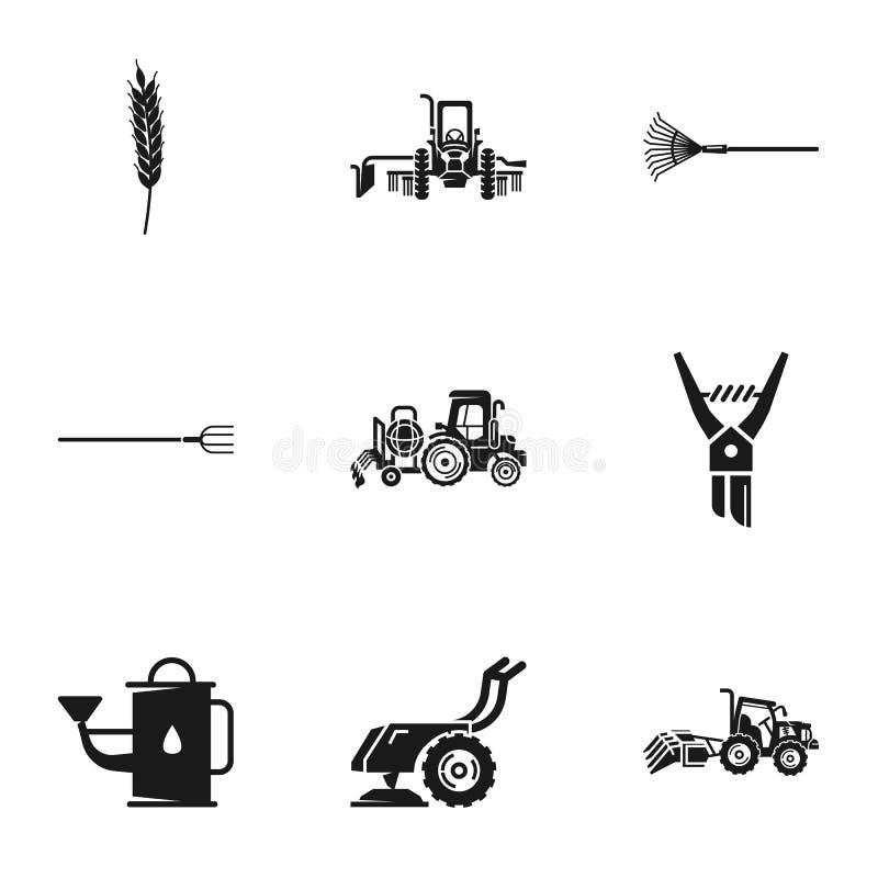 Insieme dell'icona dell'attrezzatura del trattore agricolo, stile semplice illustrazione vettoriale