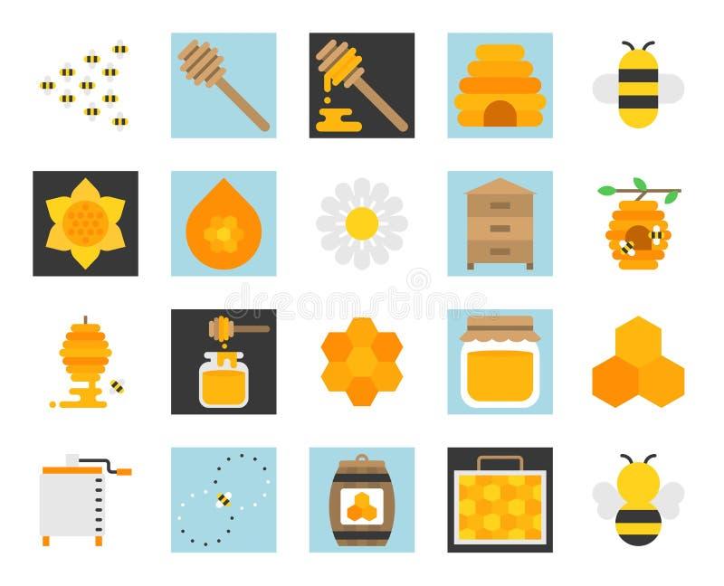 Insieme dell'icona dell'azienda agricola del miele illustrazione vettoriale