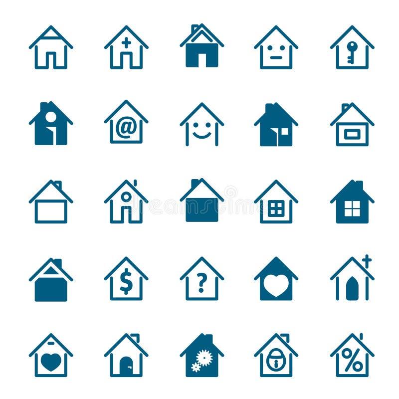 Insieme dell'icona blu della casa Illustrazione di vettore royalty illustrazione gratis