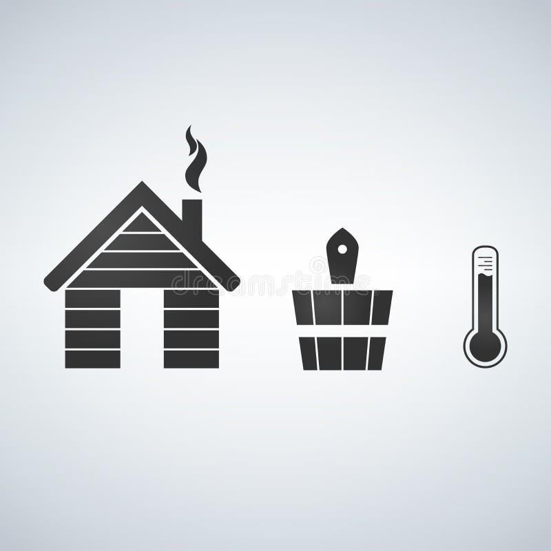 Insieme dell'icona degli accessori di sauna e del bagno illustrazione di stock