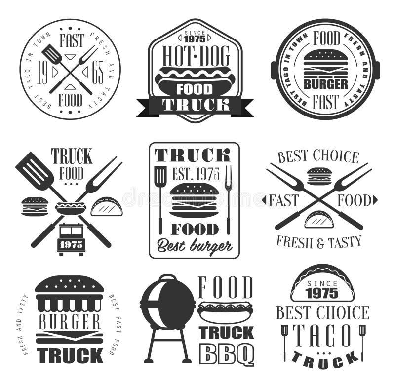 Insieme dell'icona degli alimenti a rapida preparazione e dell'hamburger royalty illustrazione gratis