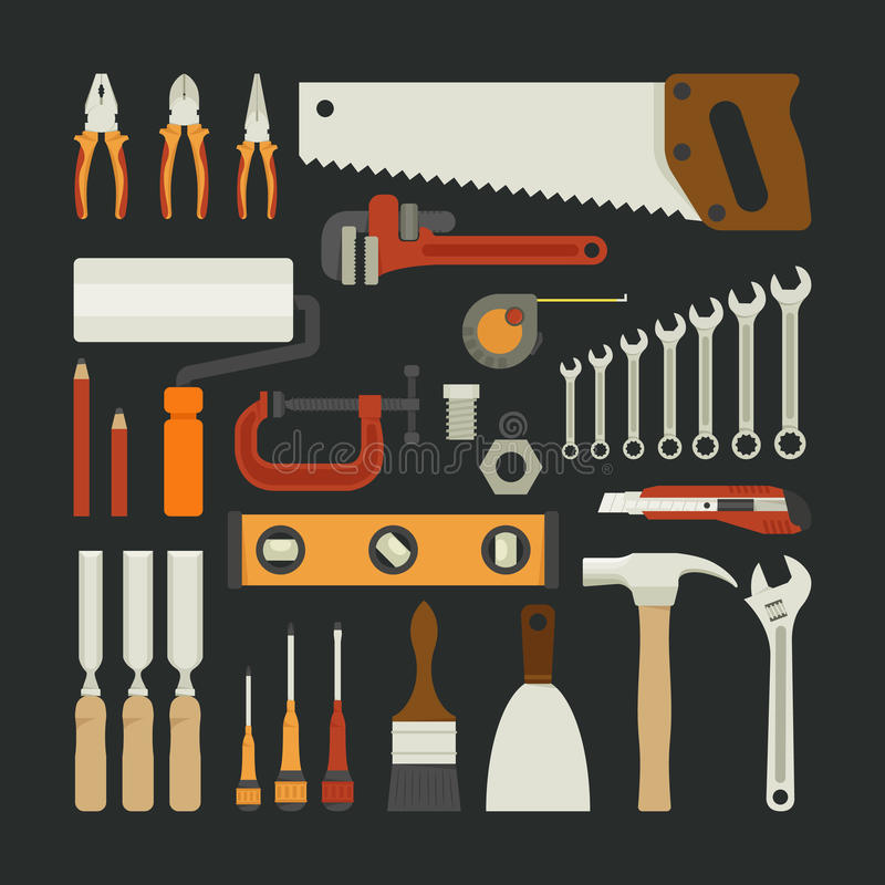 Insieme dell'icona degli attrezzi per bricolage, progettazione piana illustrazione vettoriale