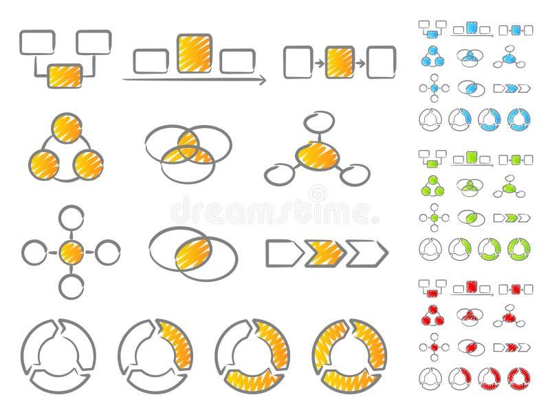 Insieme dell'icona degli schemi illustrazione di stock