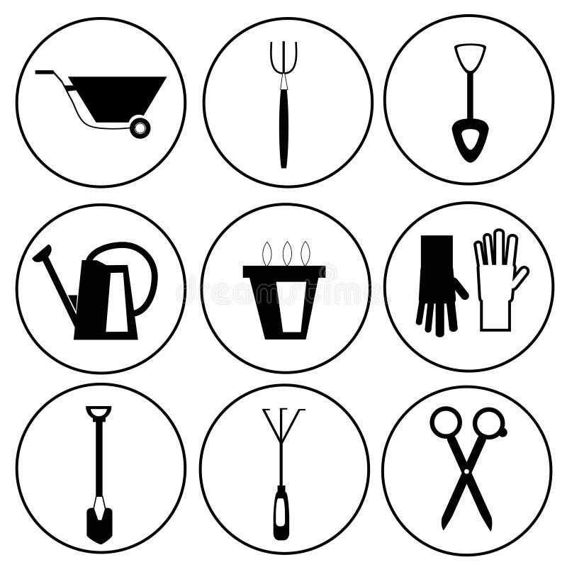 Insieme dell'icona degli strumenti di giardinaggio illustrazione vettoriale