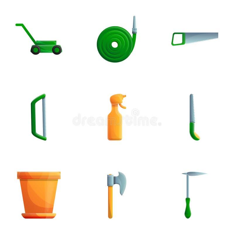 Insieme dell'icona degli strumenti di giardinaggio della Camera, stile del fumetto illustrazione di stock