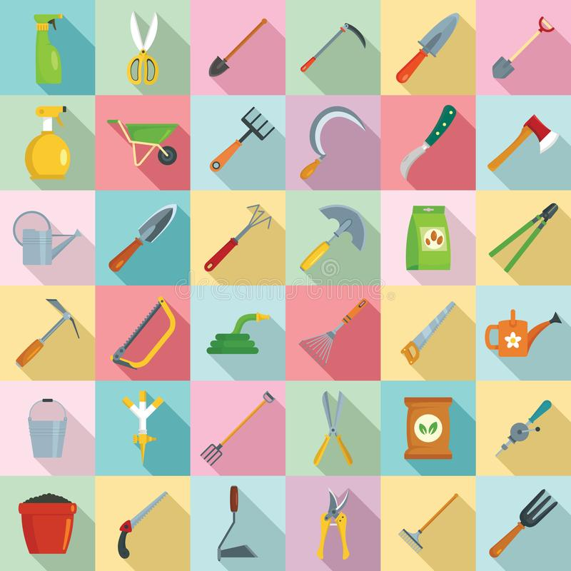 Insieme dell'icona degli strumenti di giardinaggio, stile piano illustrazione vettoriale