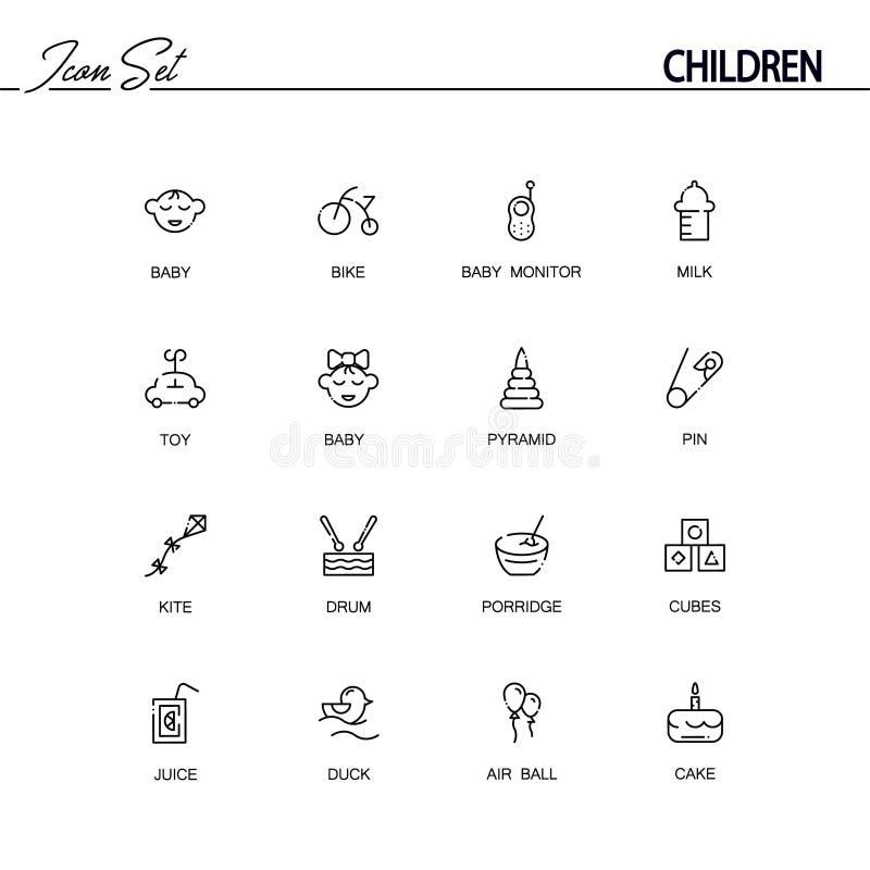 Insieme dell'icona dei bambini illustrazione vettoriale