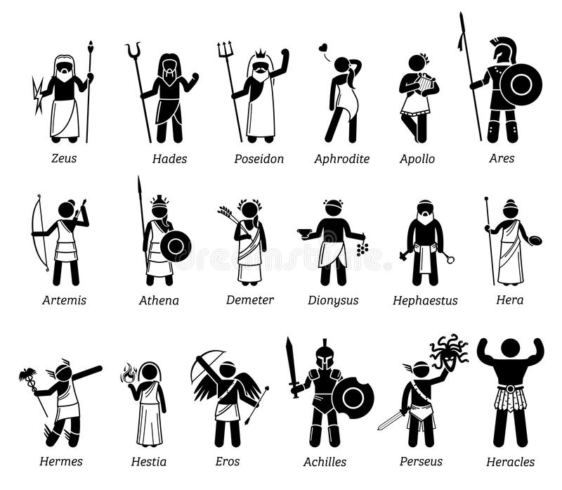 Insieme dell'icona dei caratteri dei e delle dee di mitologia di greco antico illustrazione di stock