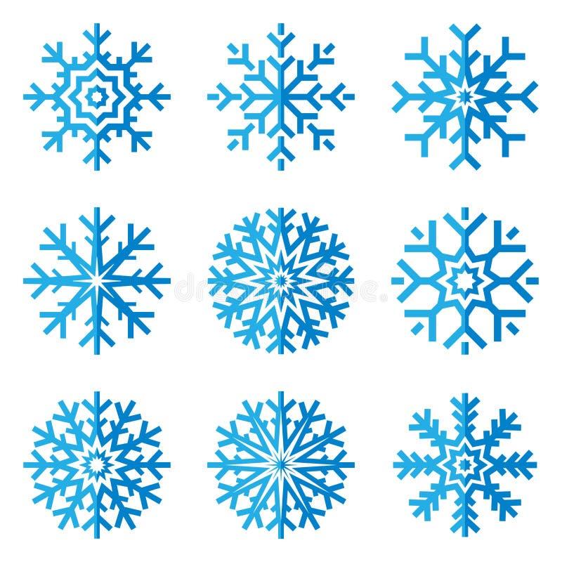 Insieme dell'icona dei fiocchi di neve nello stile piano su fondo bianco Cristallo di ghiaccio Elemento di progettazione di inver illustrazione vettoriale