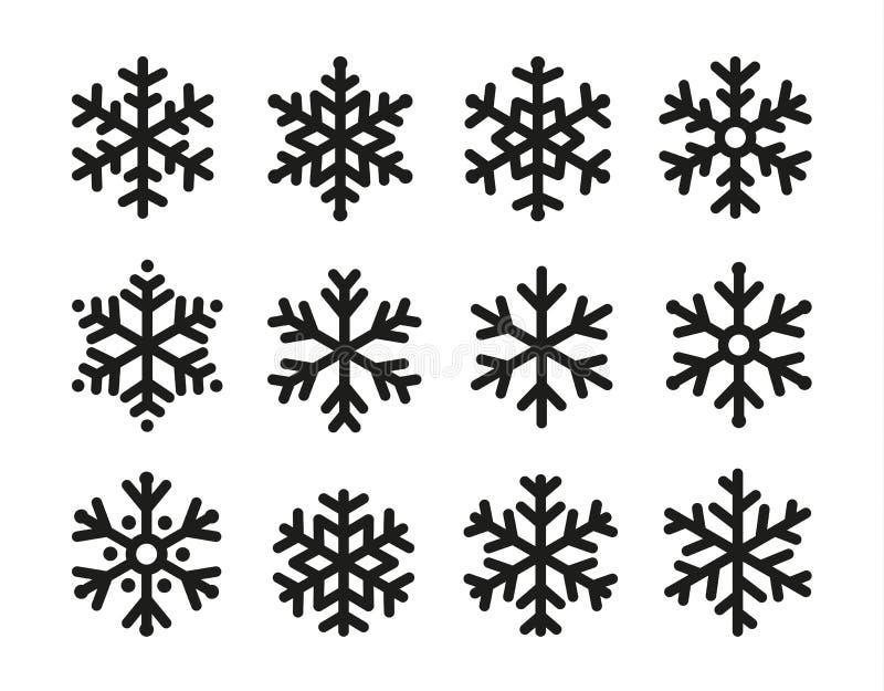Insieme dell'icona dei fiocchi di neve, progettazione nera lineare, raccolta di simbolo della gelata, logo di vettore Elementi di illustrazione vettoriale