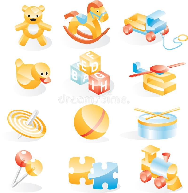 Insieme dell'icona dei giocattoli illustrazione vettoriale