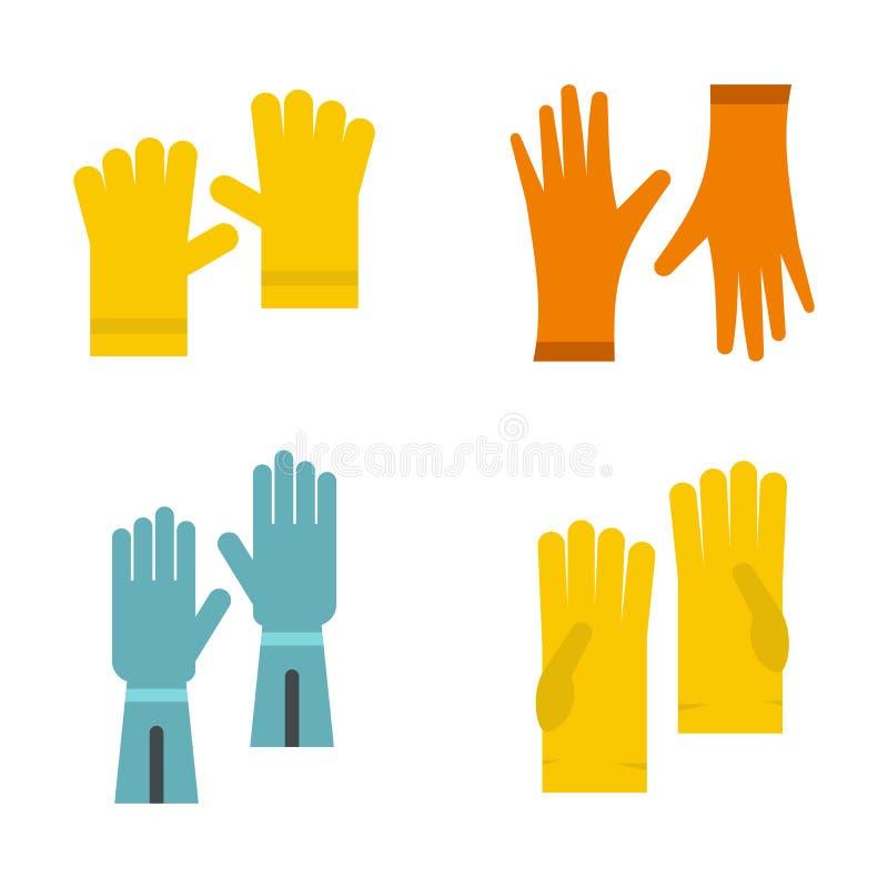 Insieme dell'icona dei guanti del lavoro, stile piano illustrazione vettoriale